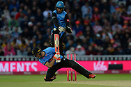Ben Cox of Worcestershire Rapids jumps as Laurie Evans attempts the ramp shot during the final of the Vitality T20 Finals Day 2018 match between Worcestershire Rapids and Sussex Sharks at Edgbaston, Birmingham, United Kingdom on 15 September 2018.