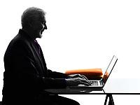 One Caucasian Senior Business Man computing laptop smiling Silhouette White Background