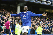 Romelu Lukaku of Everton celebrates after scoring his teams 4th goal. Premier league match, Everton v Hull city at Goodison Park in Liverpool, Merseyside on Saturday 18th March 2017.<br /> pic by Chris Stading, Andrew Orchard sports photography.