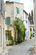 Typical street scene quaint houses, cobbled street, traditional architecture, St Martin de Re, Ile de Re, France
