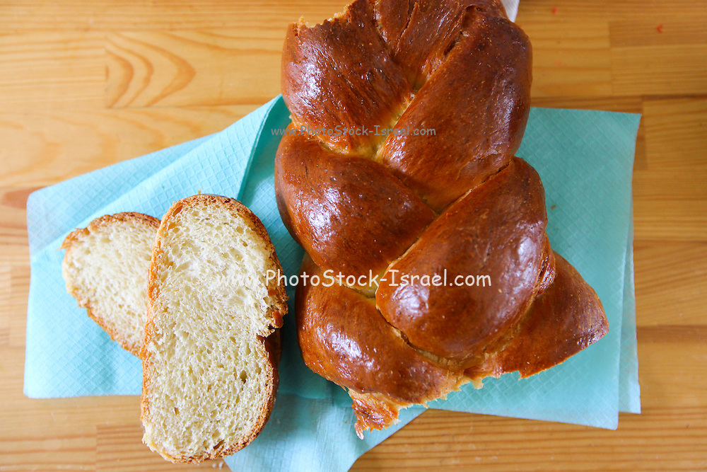Challah. The traditional Jewish white (sweet) bread eaten on Sabbath and festivals