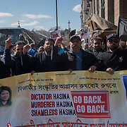 Bangladeshi march against dictator  Khaleda Zia demand for resignation corrupt and undemocratic at the start of the Commonwealth Heads of Government Conference  opposite the Queen Elizabeth Conference Centre in London, UK