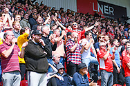 Charlton Athletic fans during the EFL Sky Bet League 1 play off first leg match between Doncaster Rovers and Charlton Athletic at the Keepmoat Stadium, Doncaster, England on 12 May 2019.