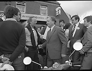 Taoiseach's Election Campaign.      (N77)..1981..23.05.1981..05.23.1981..23rd May 1981..On the 21st May the Taoiseach, Mr Charles Haughey, dissolved the Dáil and called a general election. Charles Haughey, Garret Fitzgerald and Frank Cluskey were leading their respective parties into a general election for the first time as they had only taken party leadership during the last Dáil..Fianna Fáil had hoped to call the election earlier, but the Stardust Tragedy caused the decision to be deferred...Charles Haughey and Ray Burke are pictured among supporters in Malahide.