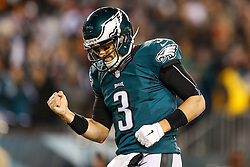 Philadelphia Eagles quarterback Mark Sanchez #3 reacts after the Eagles scored a touchdown during the NFL game between the Dallas Cowboys and the Philadelphia Eagles at Lincoln Financial Field in Philadelphia, Pennsylvania on Sunday December 14th 2014. The Cowboys won 38-27. (Brian Garfinkel/Philadelphia Eagles)
