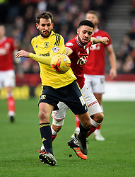 Christian Stuani of Middlesbrough battles for the ball with, Derrick Williams of Bristol City  - Mandatory byline: Joe Meredith/JMP - 16/01/2016 - FOOTBALL - Ashton Gate - Bristol, England - Bristol City v Middlesbrough - Sky Bet Championship