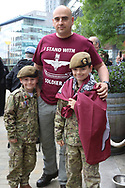 A family affair during the Soldier F Protest at Media City, Salford, United Kingdom on 18 May 2019.