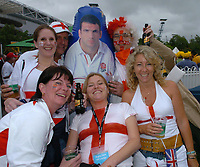 Photo: Steve Holland.<br />Australia v England. Rugby World Cup Final, at the Telstra Stadium, Sydney. RWC 2003. 22/11/2003. <br />England fans pose with a Martin Johnson inflatable.