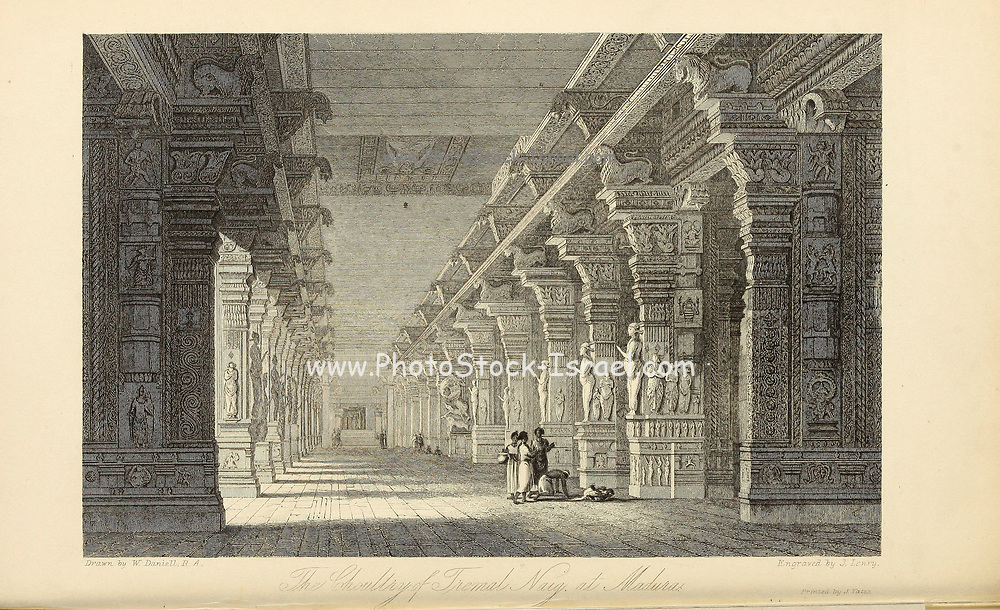 The Choultry of Tremal Naig at Madura [Madurai, Tamil Nadu, India] From the book ' The Oriental annual, or, Scenes in India ' by the Rev. Hobart Caunter Published by Edward Bull, London 1836 engravings from drawings by William Daniell
