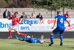 RHYL, WALES - Saturday, September 2, 2017: Wales' Kieran Evans crosses the ball during an Under-19 international friendly match between Wales and Iceland at Belle Vue. (Pic by Gavin Trafford/Propaganda)
