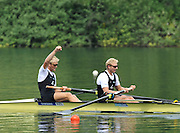 Lucerne, SWITZERLAND.  NZL M2- Bow Eric MURRAY And Hamish BOND, celebrate after winning the final of the men's pair.  2012 FISA World Cup II, Lucerne Regatta.  Rotsee  Rowing Course,  Sunday  27/05/2012    [Mandatory Credit Peter Spurrier/ Intersport Images]