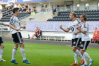 Fotball 3 kvalifiseringsrunde til Europa League<br /> Rosenborg - Debrecen<br /> 6  august 2015<br /> Lerkendal Stadion, Trondheim<br /> <br /> Alexander Søderlund (nr 2 fra høyre)  har scoret 1-0 for Rosenborg, og jubler sammen med Tobias Mikkelsen (H) og Pål Andre Helland (V)<br /> <br /> <br /> Foto : Arve Johnsen, Digitalsport