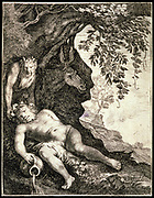 Drunken Silenus'. Etching. Moses Matheusz van Uyttenbroeck (c1595-c1647) Dutch painter and engraver.  In Roman mythology Silenus was the drunken attendant of Bacchus, god of Wine. His mount, an ass (donkey) is shown.