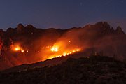 The Bighorn Fire burns dangerously close to homes in the foothills of the Santa Catalina Mountains, Sonoran Desert, Coronado National Forest, Tucson, Arizona, USA.  The lightning-caused fire prompted evacuation of a few hundred homes and started on June 5, 2020.