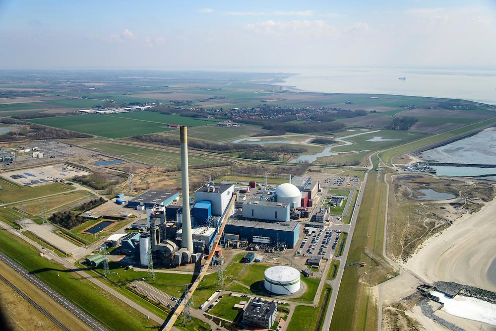 Nederland, Zeeland, Vlissingen, 01-04-2016; Sloehavengebied met kerncentrale Borssele aan de Westerschelde.<br /> Borssele nuclear power station on shore of the Westerschelde.<br /> <br /> luchtfoto (toeslag op standard tarieven);<br /> aerial photo (additional fee required);<br /> copyright foto/photo Siebe Swart