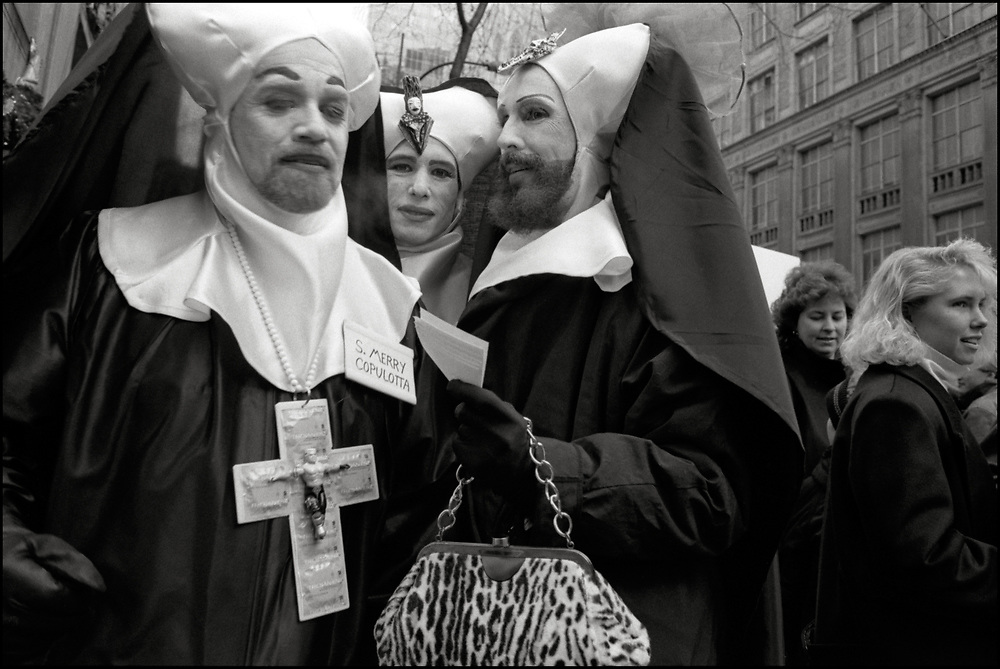 On December 8,1989, ACT UP and WHAM! made history with a massive protest at St.Patrick's Cathedral. Five thousand people protested the Roman Catholic Archdiocese's public stand against AIDS education and condom distribution, and its opposition to a women's right to abortion.<br /> <br /> The Sisters of Perpetual Indulgence, also called Order of Perpetual Indulgence is a charity, protest, and street performance organization that uses drag and religious imagery to call attention to sexual intolerance and satirizes issues of gender and morality.