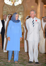 The Prince of Wales and the Duchess of Cornwall visit Sheikh Zayed Grand Mosque in Abu Dhabi, United Arab Emirates, during the royal tour of the Middle East. Visitors to the mosque must remove their footwear, and Charles walked round in black socks while his wife went barefoot.