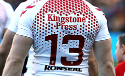 Close up of the England's poppy design shirt featured in the match