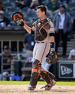 CHICAGO - SEPTEMBER 10:  Buster Posey #28 of the San Francisco Giants catches against the Chicago White Sox on September 10, 2017 at Guaranteed Rate Field in Chicago, Illinois.  The White Sox defeated the Giants 8-1.  (Photo by Ron Vesely) Subject:   Buster Posey