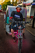 Welcome to the KGB TAXI LONDON! Aliaksandr Drinkov, unlicensed rickshaw driver in Lower Clapton during the coronavirus pandemic on the 7th May 2020 in London, United Kingdom. According to a spokesperson for Transport for London TfL, rickshaws are not currently licensed by either TfL or local councils, which is something were lobbying the government for a change in. They clarify that, as there no regulation framework for pedicabs, they are legally able to operate.