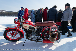 Oleg Kapkaev's antique IZH Soviet motorcycle (the company that manufactured Kalashnikov rifles) set up to ice race at the Baikal Mile Ice Speed Festival. Maksimiha, Siberia, Russia. Saturday, February 29, 2020. Photography ©2020 Michael Lichter.
