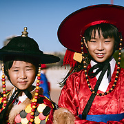 Two brothers in Traditional Korean dress during the Suwon Hwaseong Cultural Festival.  Suwon, Korea