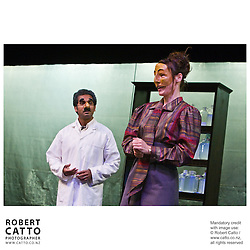 Jacob Rajan, Mia Blake, Gareth Williams and Peta Rutter rehearse for the Indian Ink Theatre premiere  of The Dentist's Chair at the New Zealand International Arts Festival 2008, in Soundings Theatre, Te Papa.