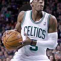 04 March 2012: Boston Celtics point guard Rajon Rondo (9) is seen during the Boston Celtics 115-111 (OT) victory over the New York Knicks at the TD Garden, Boston, Massachusetts, USA.