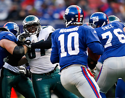 7 Dec 2008: Philadelphia Eagles defensive tackle Brodrick Bunkley #97 moves in on New York Giants quarterback Eli Manning #10 during the game against the New York Giants on December 7th, 2008. The Eagles won 20-14 at Giants Stadium in East Rutherford, New Jersey. (Photo by Brian Garfinkel)