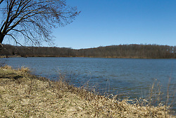 04 April 2015:   Spring at Dawson Lake located in Moraine View State Park maintained by the Illinois Department of Natural Resources (IDNR) near Le Roy Illinois before the trees leaf out.<br /> <br /> Image was shot with a perspective corrective lens to sweeten the focal points.