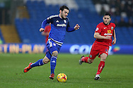 Tony Watt of Cardiff city makes a break. Skybet football league championship match, Cardiff city v Blackburn Rovers at the Cardiff city stadium in Cardiff, South Wales on Saturday 2nd Jan 2016.<br /> pic by Andrew Orchard, Andrew Orchard sports photography.