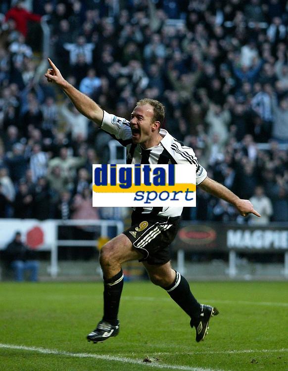 Photo: Andrew Unwin.<br /> Newcastle United v Portsmouth. The Barclays Premiership. 04/02/2006.<br /> Newcastle's Alan Shearer celebrates scoring his 201st club goal.