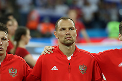 July 7, 2018 - Sochi, Russia - July 07, 2018, Sochi, FIFA World Cup 2018, the playoff round. 1/4 finals of the World Cup. Football match Russia - Croatia at the stadium Fisht. Player of the national team Sergey Ignashevich. (Credit Image: © Russian Look via ZUMA Wire)