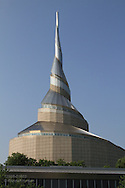 Community of Christ temple, built 1994 and designed by Gyo Obata, based on nautilus spiral; Independence, Missouri.