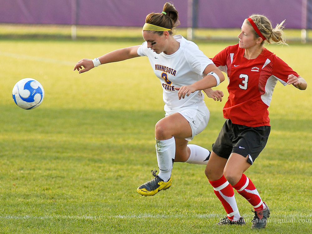 Minnesota State's Laura Leber steals the ball from Missouri Central during the NCAA national playoffs in Mankato Minnesota.