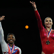 McKayla Maroney, Long Beach, California, (right), winning the Vault and Floor Exercise during the Senior Women Competition, on the podium with Simone Biles, Spring, Texas, at The 2013 P&G Gymnastics Championships, USA Gymnastics' National Championships at the XL, Centre, Hartford, Connecticut, USA. 17th August 2013. Photo Tim Clayton