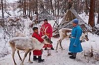 Mongolie, province de Khovsgol, les Tsaatans, éleveurs des rennes, campement en hiver des Tsaatan// Mongolia, Khovsgol province, the Tsaatan, reindeer herder, the winter camp