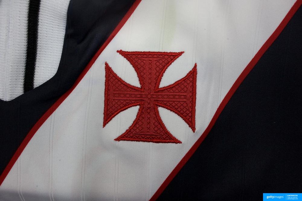 The shirt emblem of Vasco da Gama football team in Rio de Janeiro,  Brazil. 6th September 2010. Photo Tim Clayton.