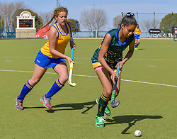 Chemelda Ontong of Eunice and Bernice Smit of Waterkloof during day two of the FNB Private Wealth Super 12 Hockey Tournament held at Oranje Meisieskool in Bloemfontein, South Africa on the 7th August 2016, <br /> <br /> Photo by:   Frikkie Kapp / Real Time Images
