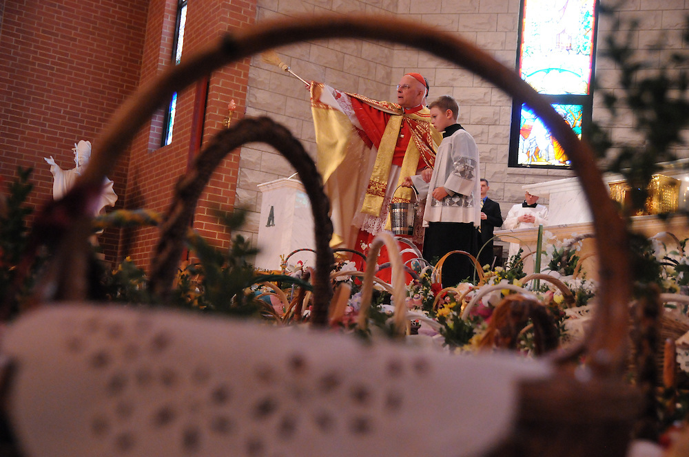Francis Cardinal George presides over the Holy Saturday Blessing of Easter Baskets at  Our Lady, Mother of the Church Polish Mission in Willow Springs.