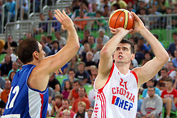 Nenad Krstic of Serbia and Stanko Barac of Croatia at friendly match between Serbia and Croatia for Adecco Cup 2011 as part of exhibition games before European Championship Lithuania on August 9, 2011, in SRC Stozice, Ljubljana, Slovenia. (Photo by Urban Urbanc / Sportida)