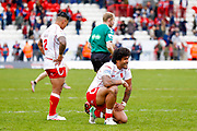 Hull Kingston Rovers prop Mose Masoe (10) on his knees after the defeat in the Betfred Super League match between Hull Kingston Rovers and Leeds Rhinos at the Lightstream Stadium, Hull, United Kingdom on 29 April 2018. Picture by Simon Davies.