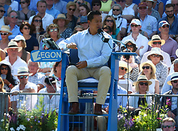 June 20, 2017 - London, United Kingdom - Umpire James Keothavong Feliciano Lopez  (ESP)   against Stan Wawrinka  (SUI)  during Round One match on the second day of the ATP Aegon Championships at the Queen's Club in west London on June 20, 2017  (Credit Image: © Kieran Galvin/NurPhoto via ZUMA Press)