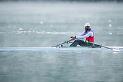 Aiguebelette, FRANCE, CUB M1X, Angel FOURNIER RODRIGUEZ, Training in the mist at the     2015 FISA World Rowing Championships, Venue, Lake Aiguebelette - Savoie. <br /> <br /> Saturday  05/09/2015  [Mandatory Credit. Peter SPURRIER/Intersport Images]. © Peter SPURRIER, Atmospheric, Rowing