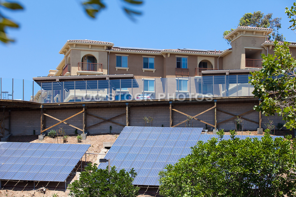 Solar Panels Installed on Home Roof Tops and Hillside