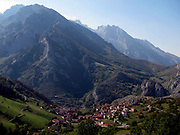 Sotres seen from the road down from the village of Tresviso, in the Picos de Europa national park, a hamlet famous for its goat's cheese.