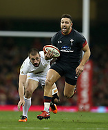 Rhys Webb of Wales ® makes a break. Under Armour 2017 series Autumn international rugby, Wales v Georgia at the Principality Stadium in Cardiff , South Wales on Saturday 18th November 2017. pic by Andrew Orchard, Andrew Orchard sports photography