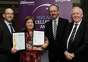 Karl Cronin of Cavan MABS and Cecilia Smith of Co Cavan CIS pictured with Tony McQuinn chief executive of CIB and Bob Barbour director of Centre for Competitiveness at the EFQM Ireland Excellence Awards ceremony in association with Fáilte Ireland and the Centre for Competitiveness at the Galway Bay Hotel on Friday night. Photo:- Andrew Downes Photography / No Fee