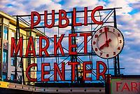 Public Market Center neon sign at the Pike Place Market, Seattle, Washington USA.