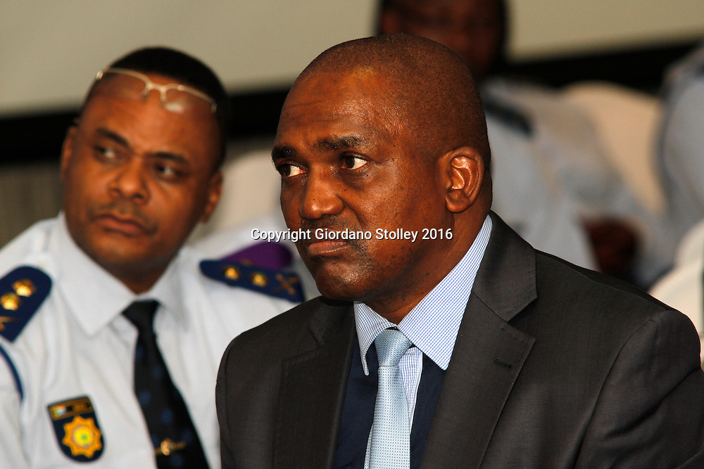 DURBAN - 29 January 2016 - Major-General Jabulani Zikhali, the KwaZulu-Natal head of South Africa's elite police unit The Directorate for Priority Directorate for Priority Crime Investigation, more commonly known, seen here at a provincial police awards ceremony. Zikhali's appointment was controversial as he was taking up a position that was still occupied by Major-General Johan Booysen , who had been suspended for alleged fraud. In the background is an unknown police officer. Picture: Allied Picture Press/APP